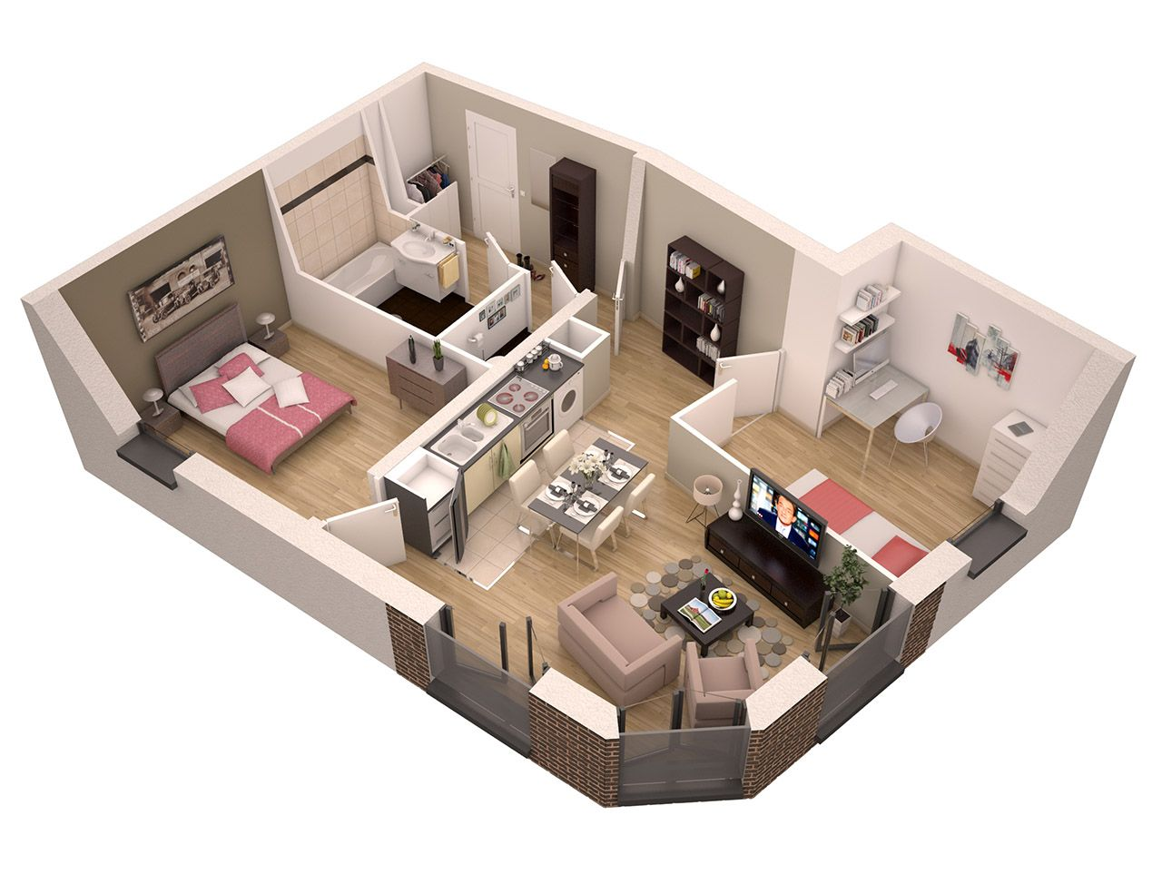 plan appartement 60m2 en 3d altoservices. Black Bedroom Furniture Sets. Home Design Ideas