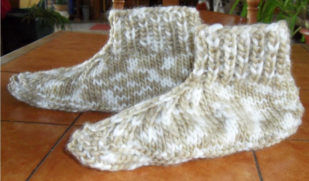 Tricoter des chaussons adultes explications photos f60b31e16b7