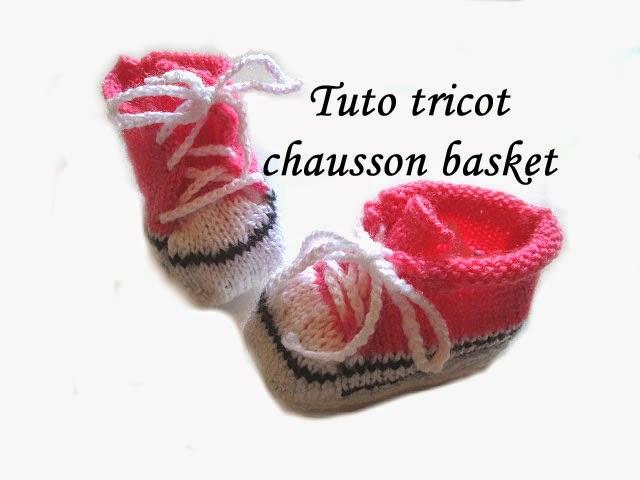 Modele tricot chausson basket bébé
