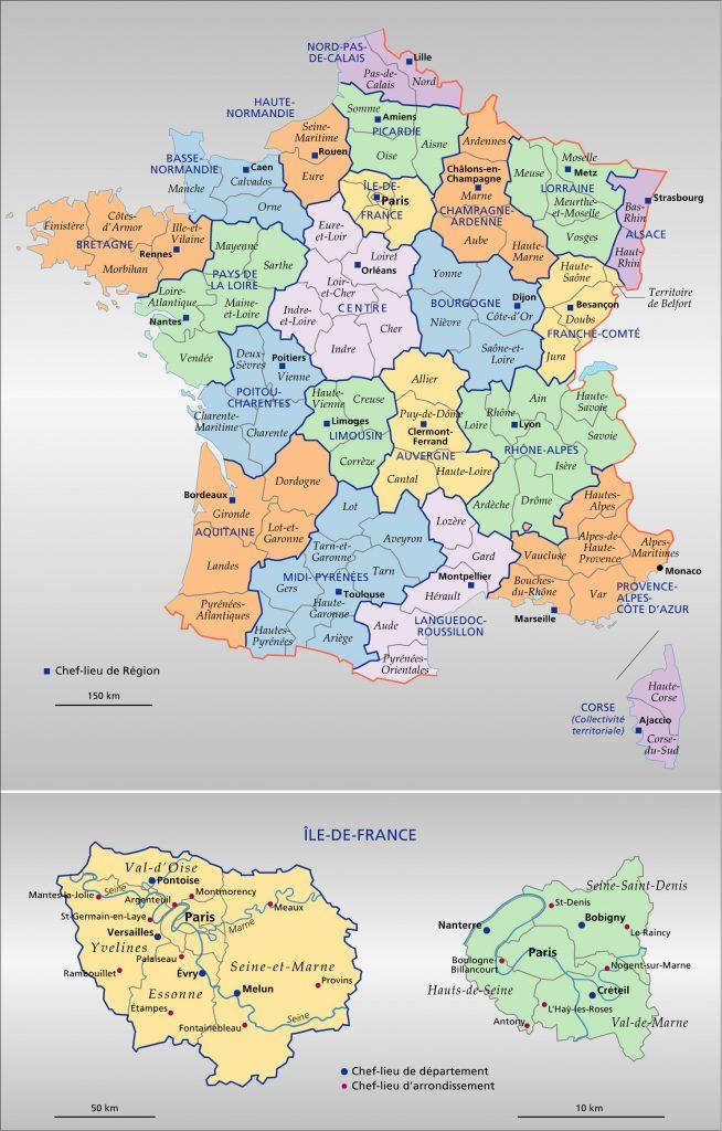 Carte de france des régions et départements - altoservices