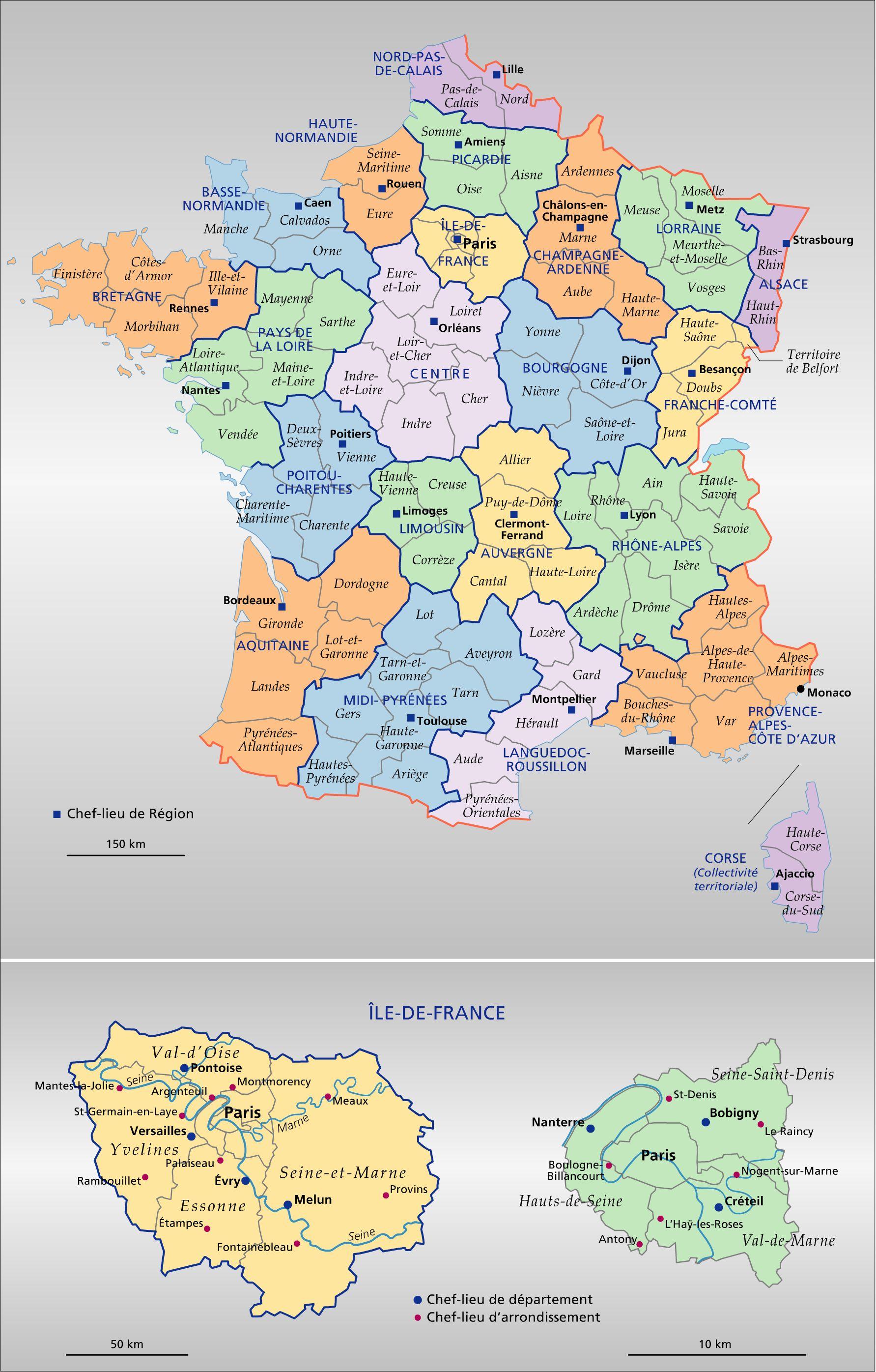 Carte de france des régions et départements