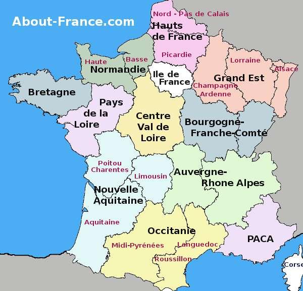 Map de la france