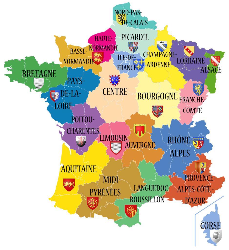 Nom des nouvelles régions françaises