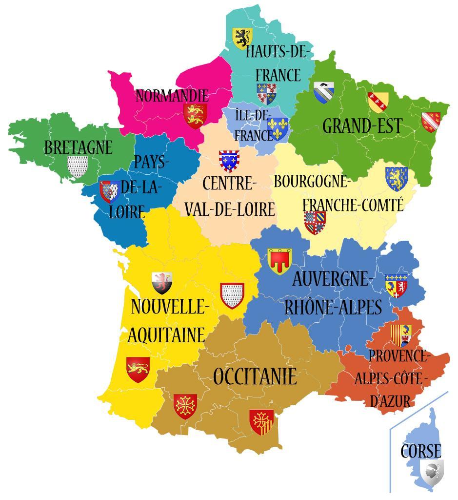 Carte des nouvelles régions 2016