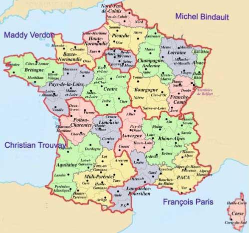 Carte departement et region de france