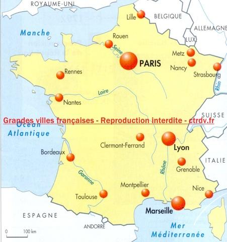 Les principales villes de france