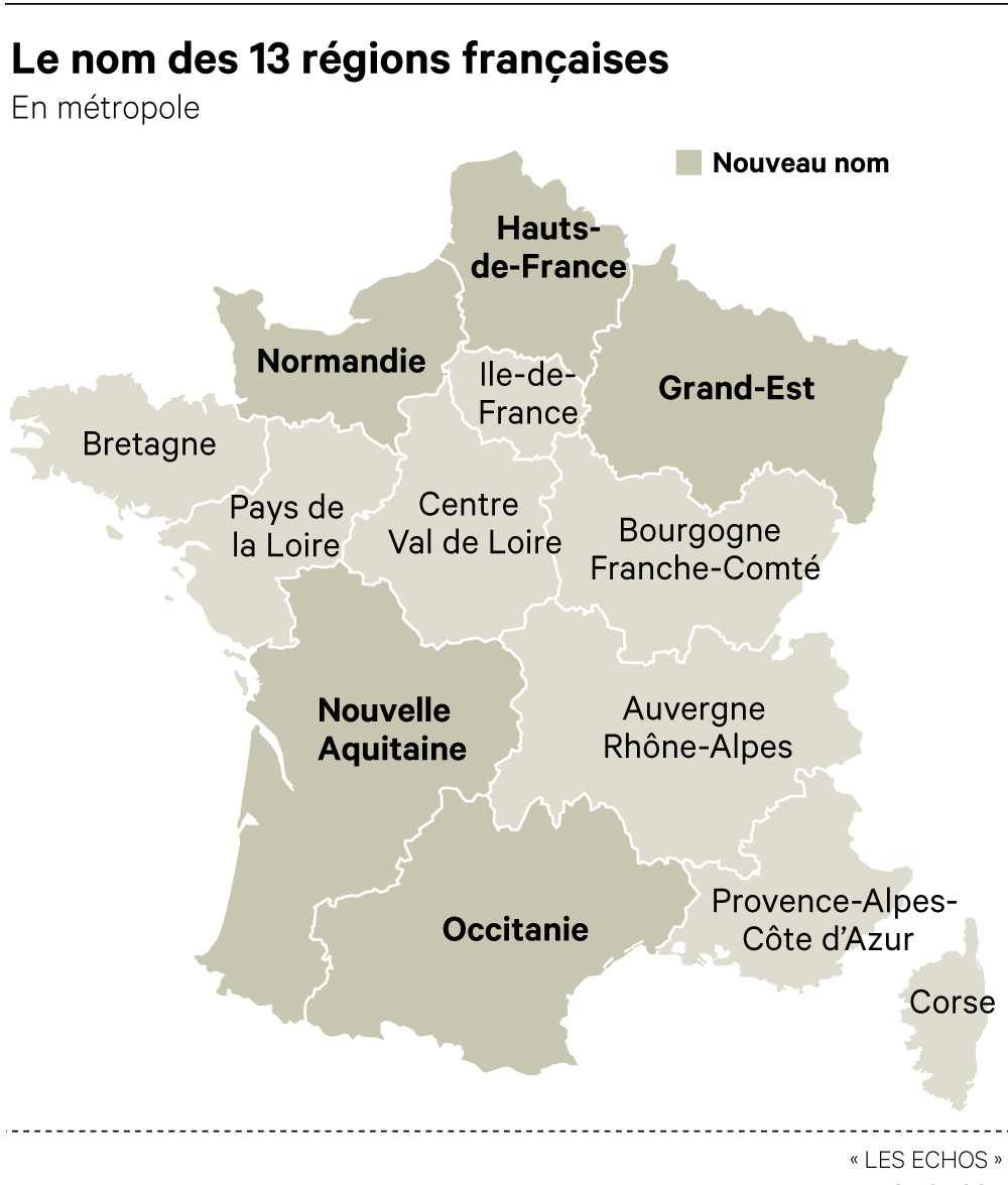 Les noms des nouvelles régions françaises