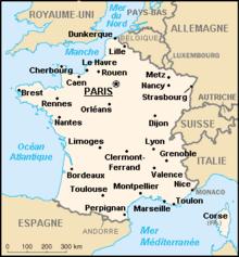 La carte geographique du france