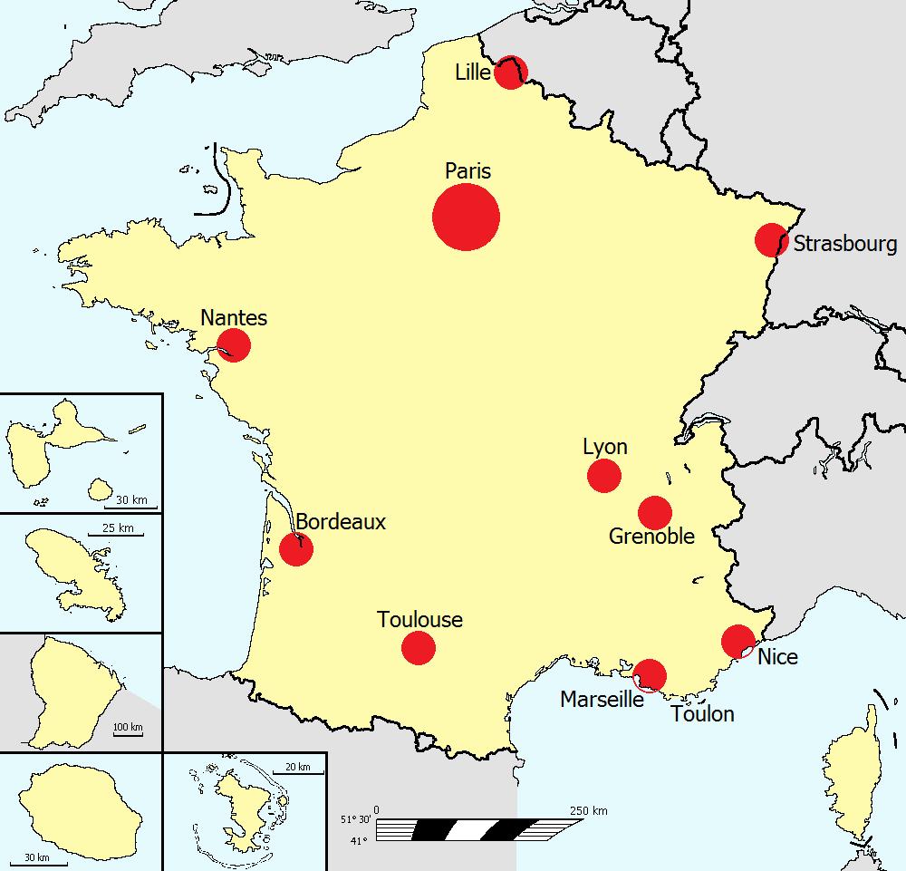 Les grandes villes de france carte