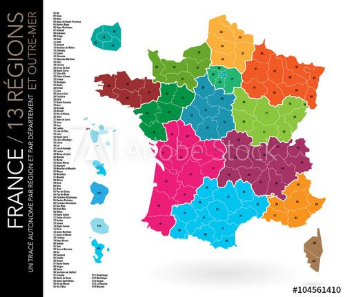 Carte avec numero departement france