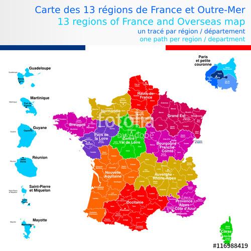 Carte de france avec les regions et departement