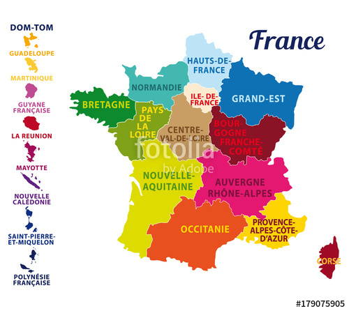 Carte avec les régions de france