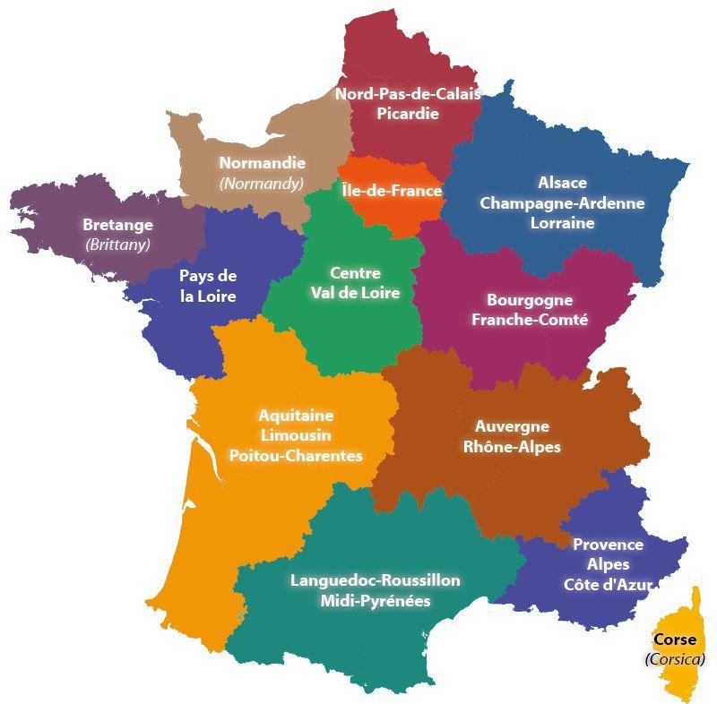 Les 13 régions en france