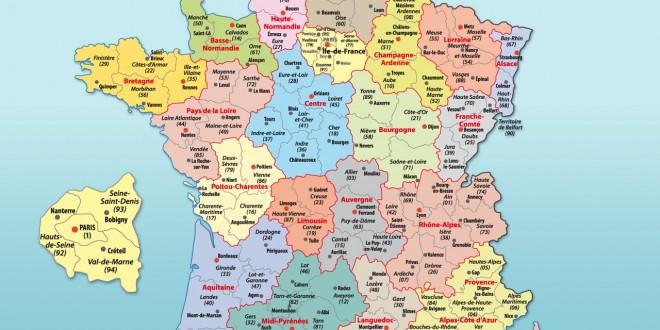 Carte geographique de france avec departement