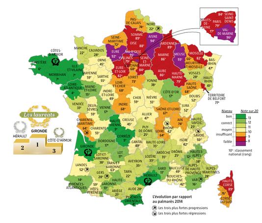 Carte des départements avec numéro