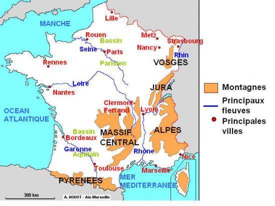 Carte france villes fleuves