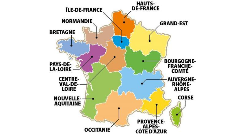 Carte des grandes régions