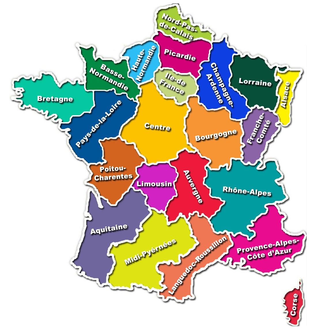 Region de france par departement