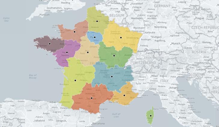 Les 13 nouvelles régions