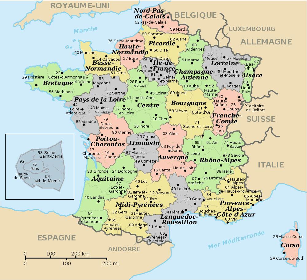 Départements et régions de france