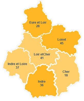 Carte département centre