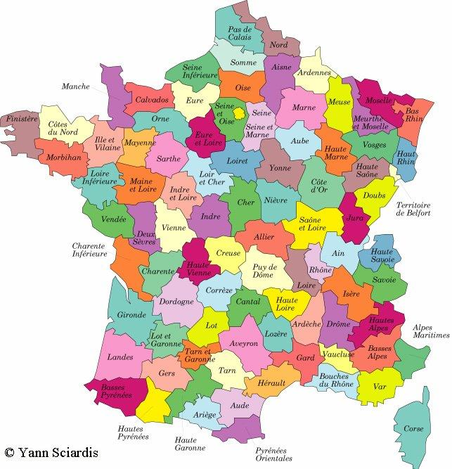 La carte departement de france