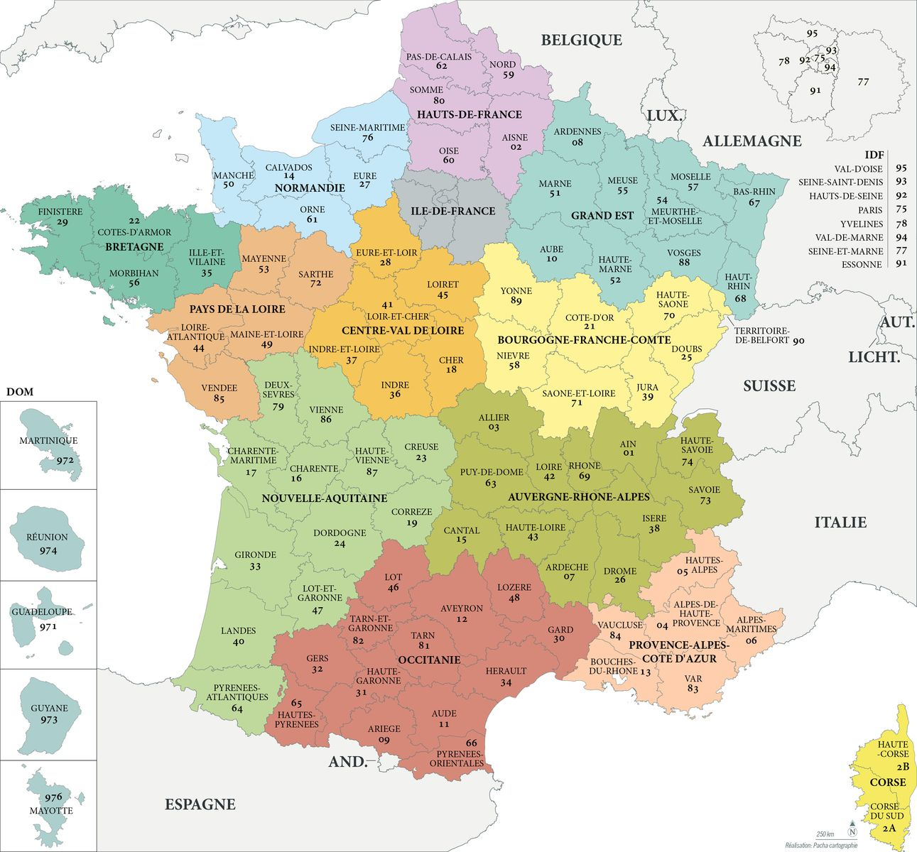 Les departement de france carte