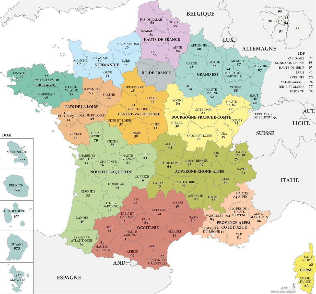 Carte region de france et departement