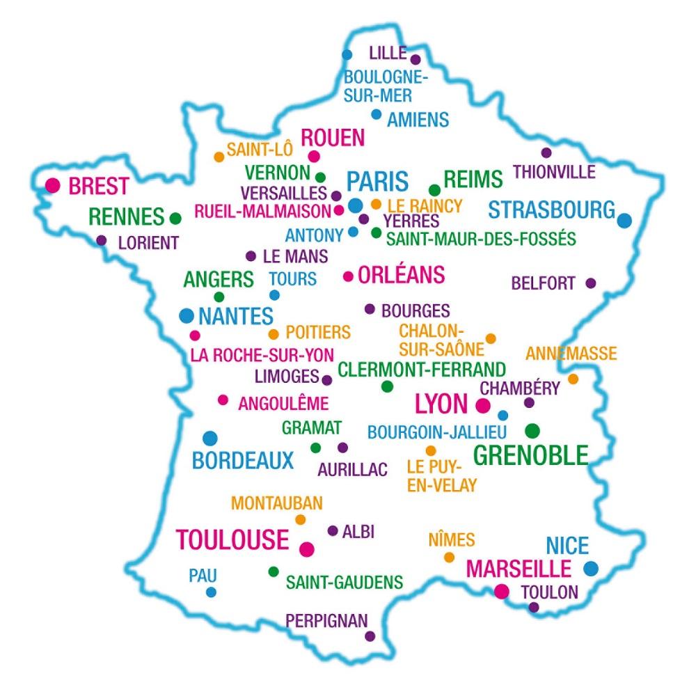 Carte des agglomérations françaises