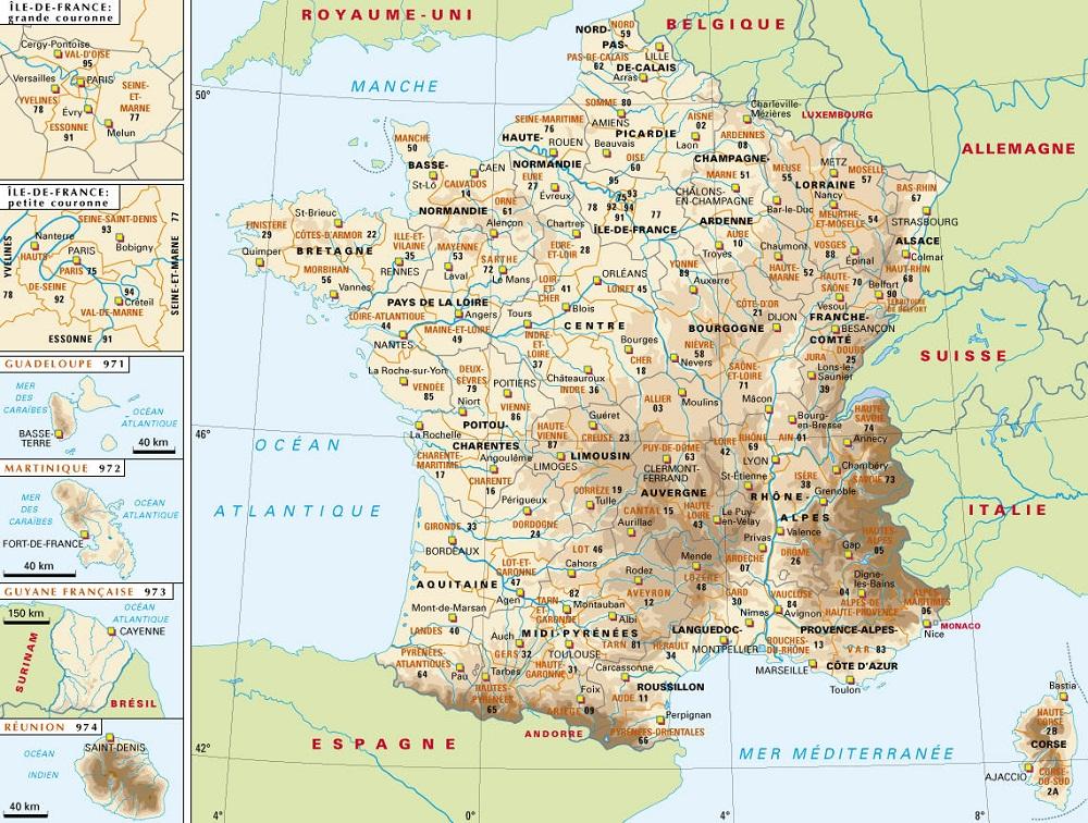 Carte de france region ville