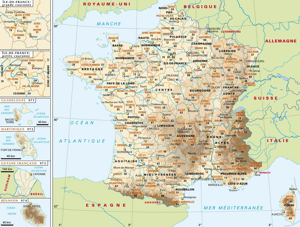 Carte des departements du sud de la france