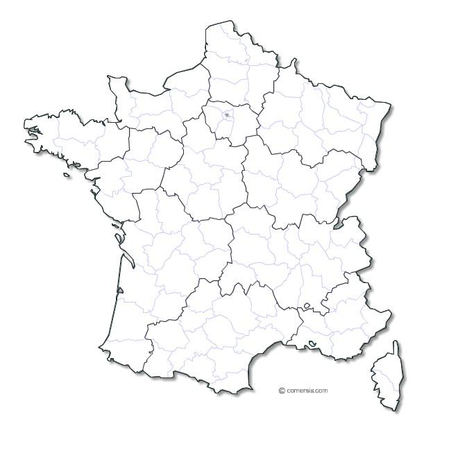 Carte des départements 2016