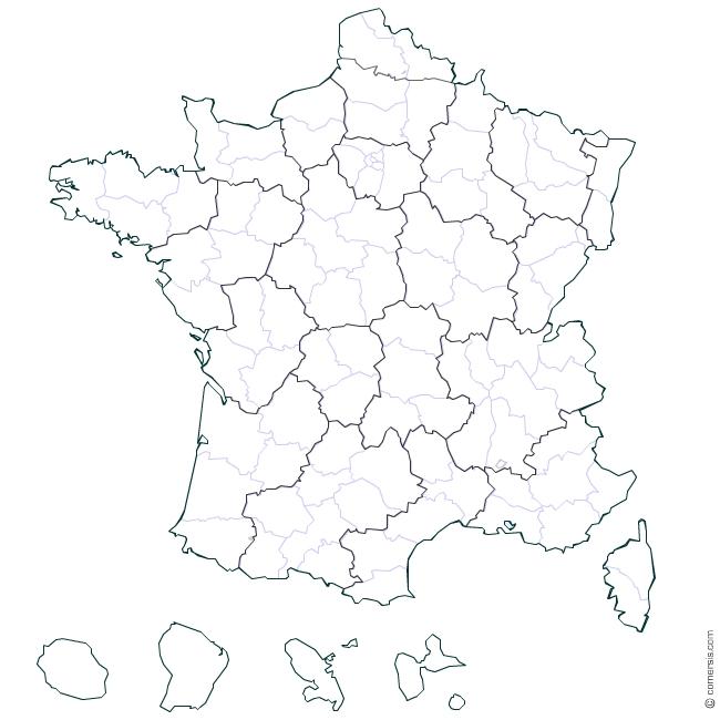 Carte france département vierge