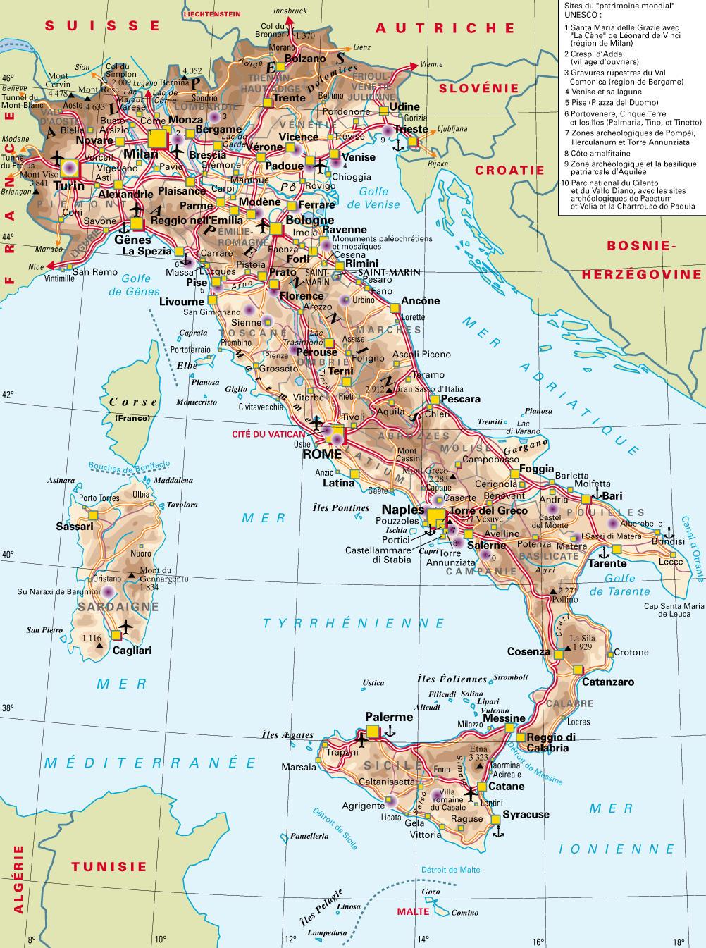 Carte des villes italie