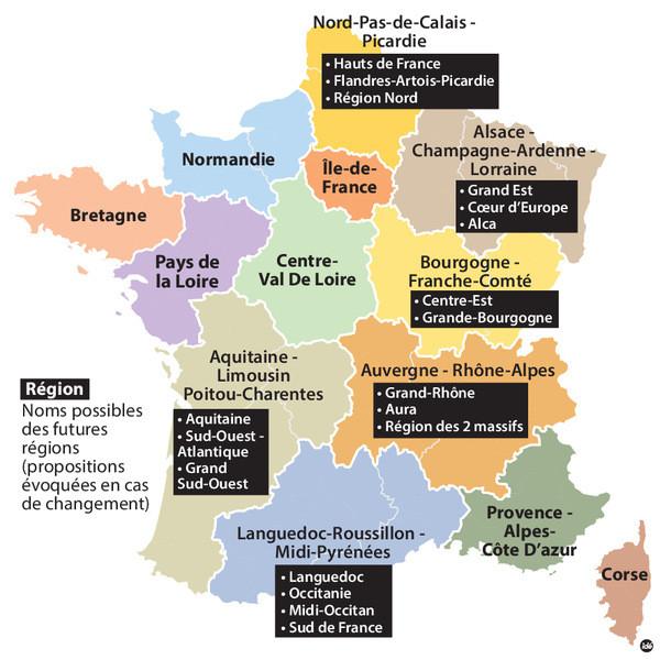 Le nom des régions françaises