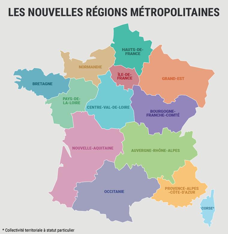 Nouvelle carte des régions françaises à imprimer