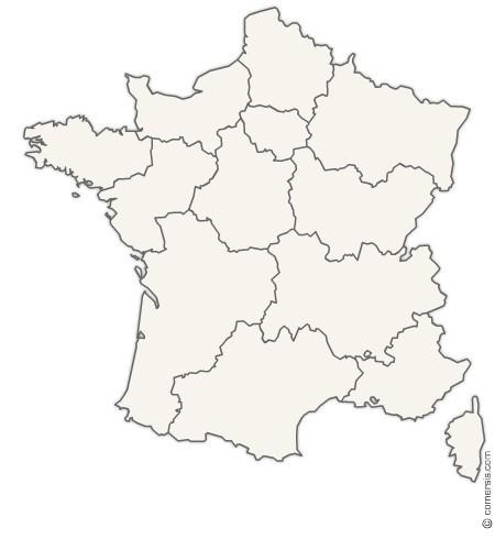 Carte région de france vierge