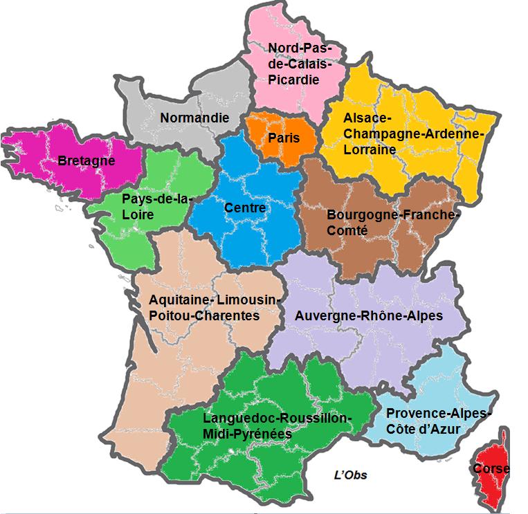 Combien de régions en france en 2015