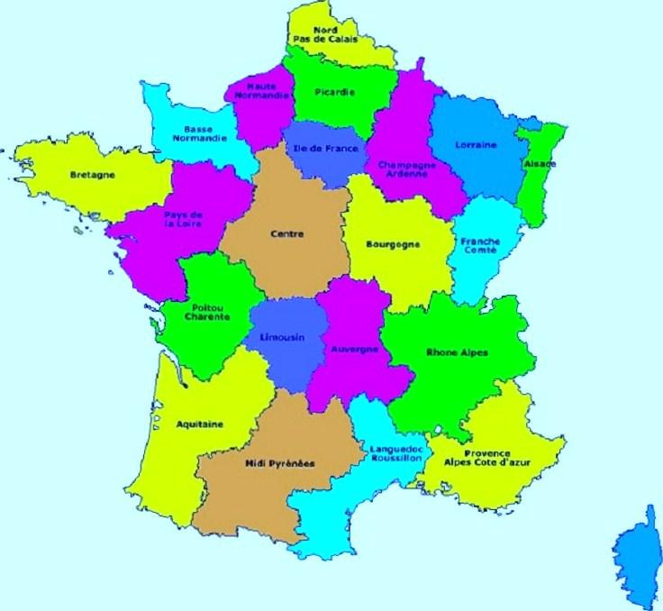 Carte de france ancienne region