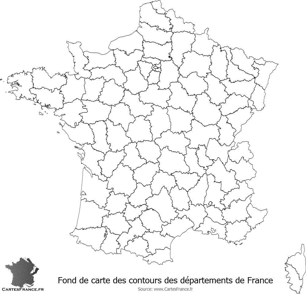 Carte de france des départements vierge