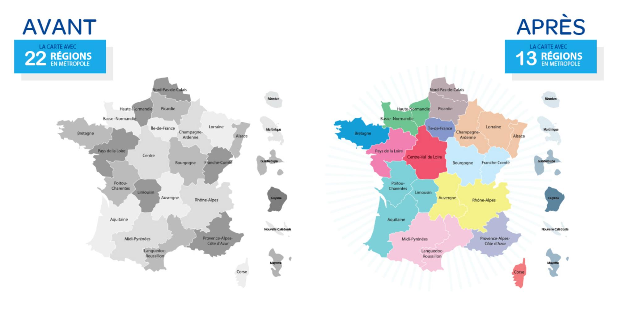 Les régions françaises en 2016
