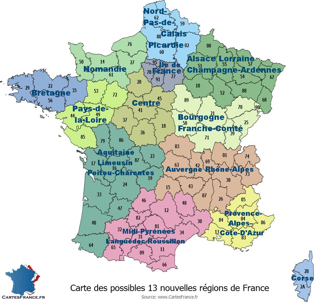 Les nouvelles régions de france et leurs départements