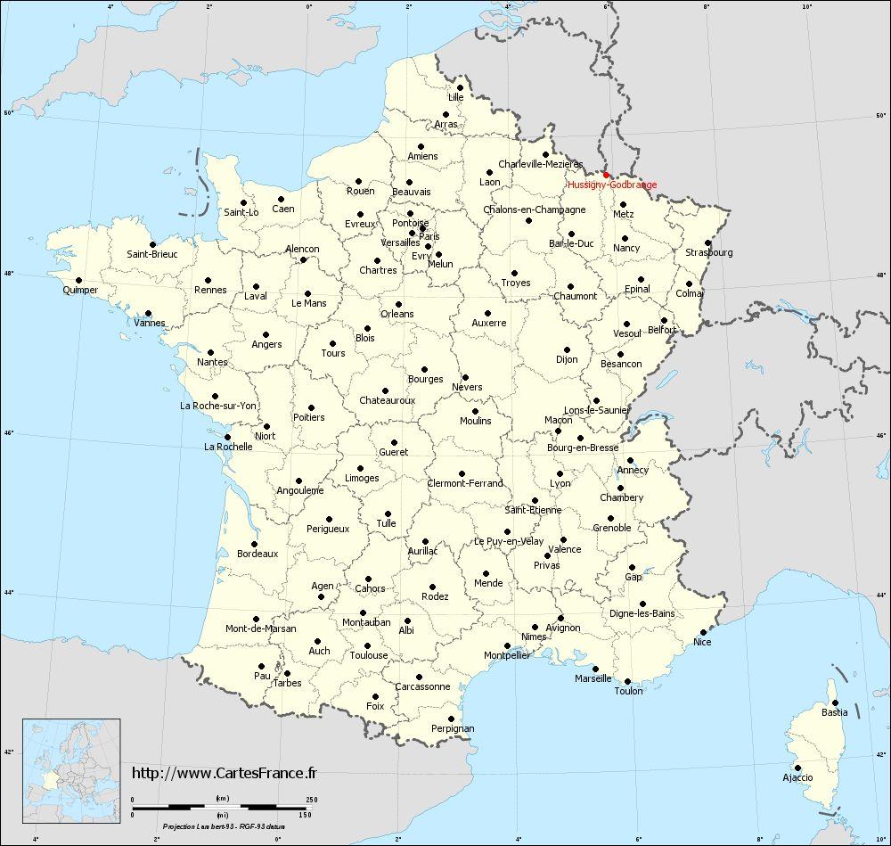Carte des villes de la france