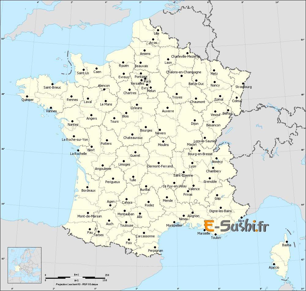 Carte des départements avec villes