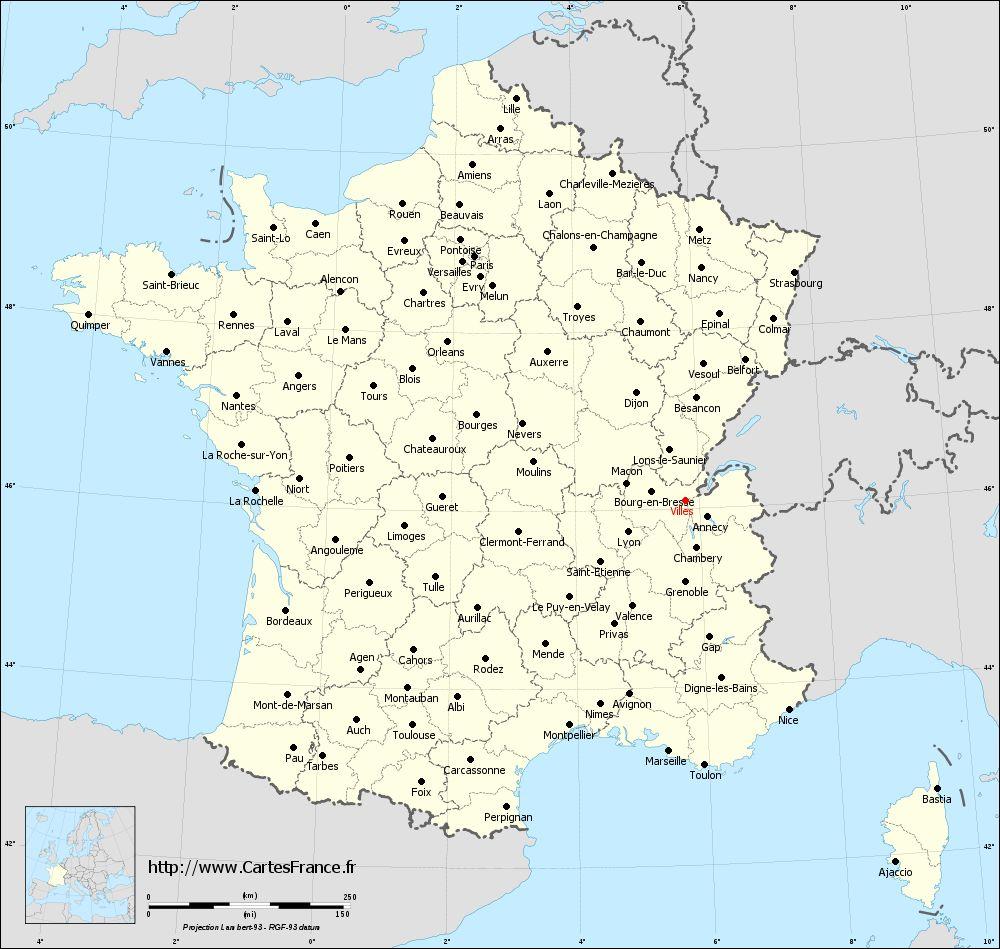 La carte des villes de france