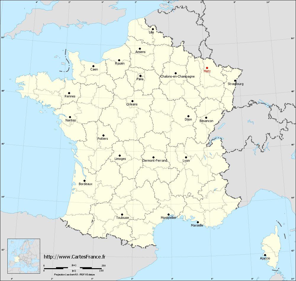 Metz sur carte de france