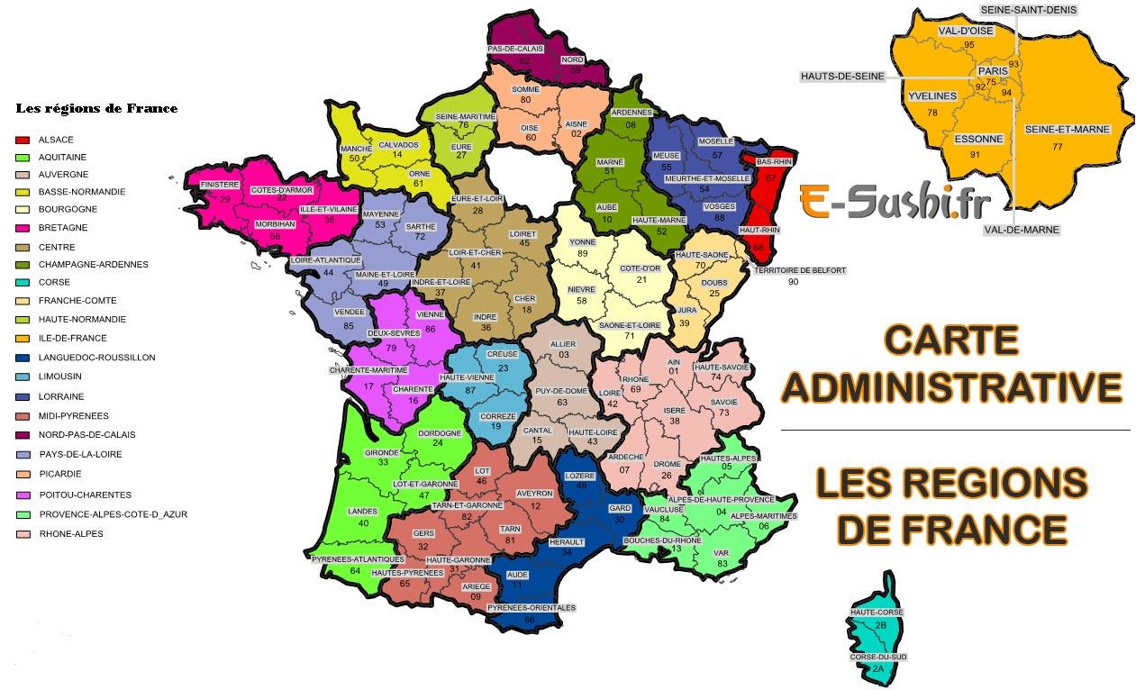 Carte de france régions et départements à imprimer