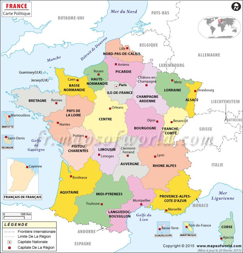 Carte de france région vierge