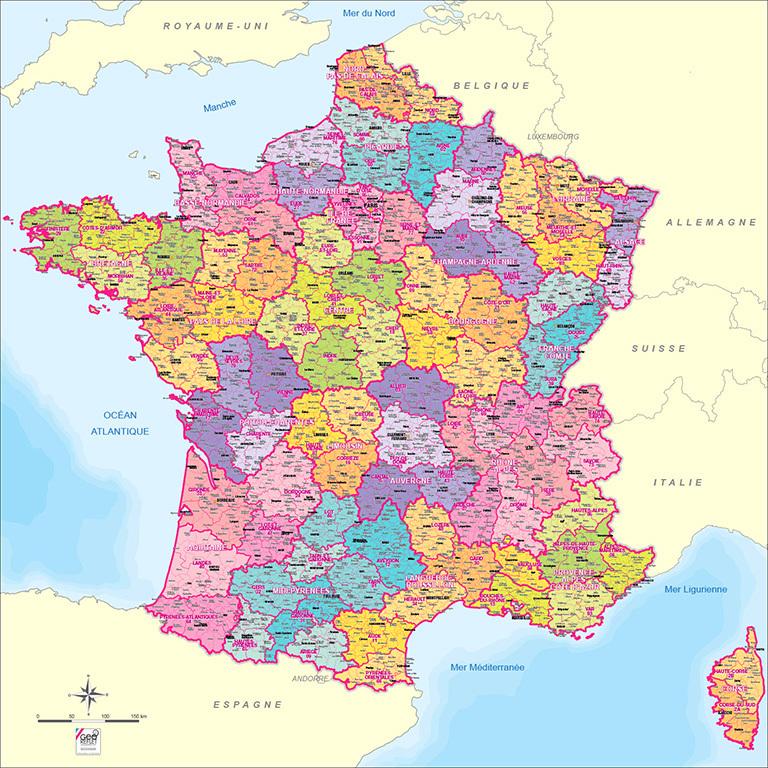 Les villes de la france sur la carte