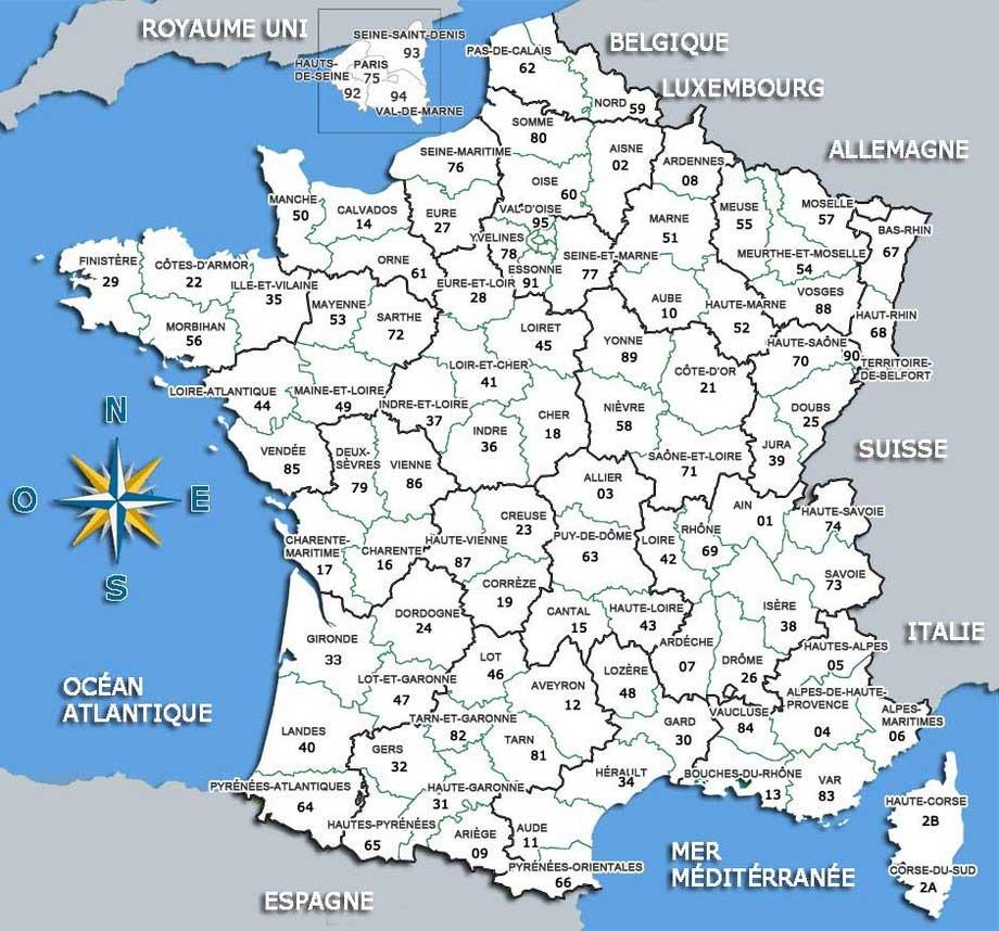 Carte de france region et departement